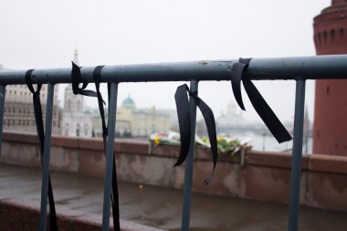 Mourning black tapes on a fencing near a place of murder of the politician Boris Nemtsov