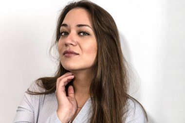 photo of a beautiful young girl close-up, suitable for advertising decorative cosmetics and facials