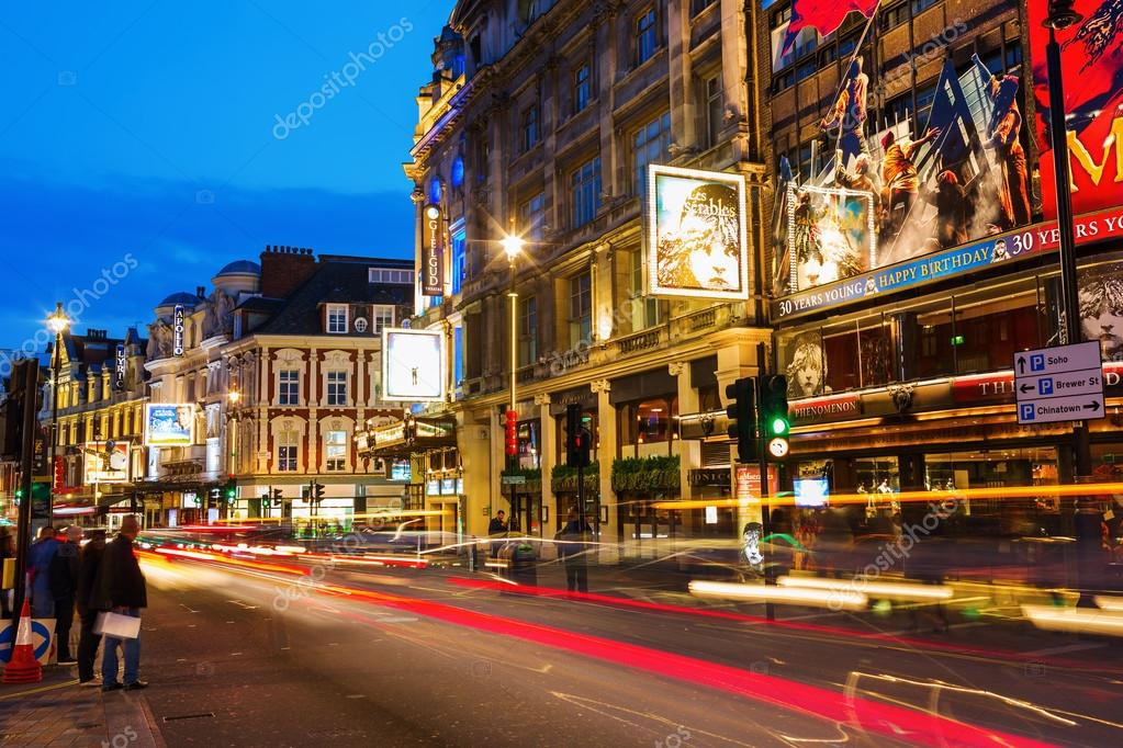 Shaftesbury Avenue in London, UK, at night – Stock Editorial