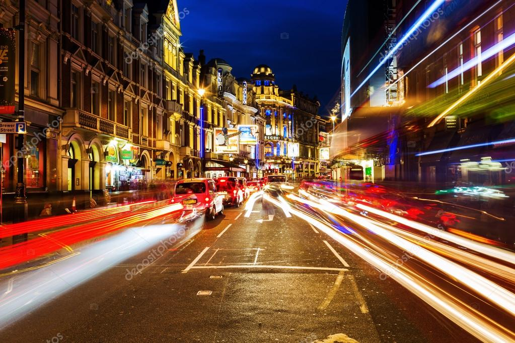 Shaftesbury Avenue in London, UK, at night – Stock Editorial Photo