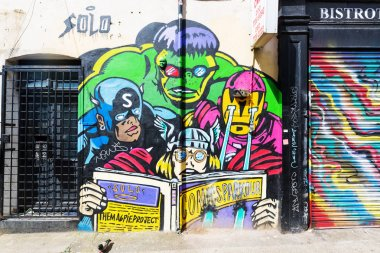 London, UK - June 15, 2016: mural art on a wall in the city of London. London has one of the biggest and best collections of uncommissioned street art in the world stock vector