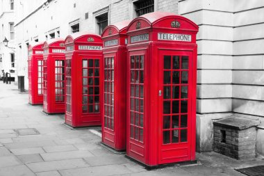 Phone boxés in London in a chroma key processing