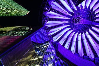 Sony Center in Berlin, Germany, at night