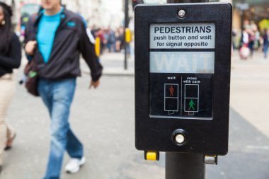 Pedestrian button at a pedestrian crossing in London