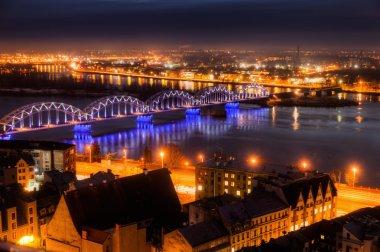 Aerial view of Riga, Latvia, at night