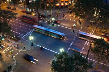 Aerial view of an avenue in Barcelona, Spain, at night