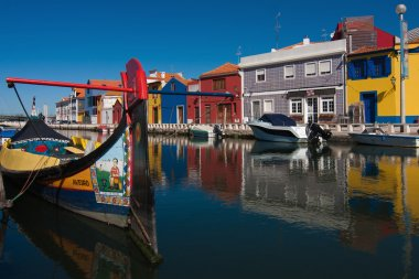 Colorful houses at a canal in Aveiro, Portugal