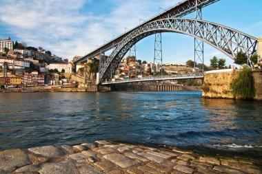 Cityscape of Porto, Portugal, with the famous bridge Ponte Dom Luis