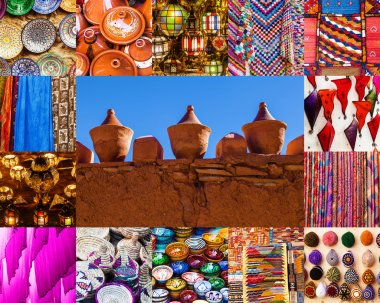 Collage of traditional goods of Marrakech, Morocco