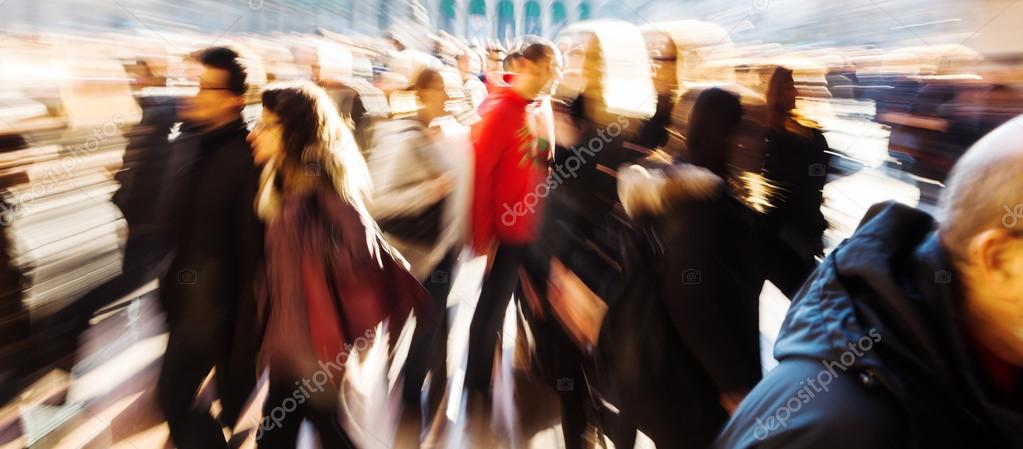 Panorama picture of a crowd of people with creative zoom effect