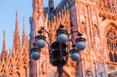 Milan Cathedral at sunset light in Milan, Italy