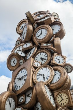Clock sculpture in front of the Gare St. Lazare in Paris