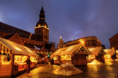 Christmas market in the old town of Riga, Latvia