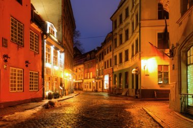Old town of Riga, Latvia, at night