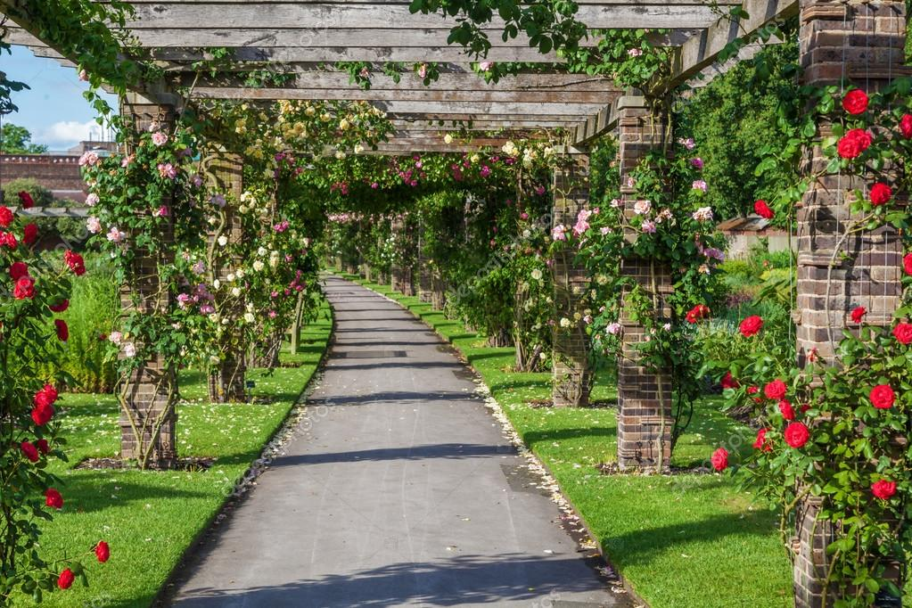 Rose pergola in the royal botanical garden in kew england for Jardin botanico de kew