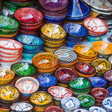 Colorful ceramic bowls in the souks of Marrakech, Morocco