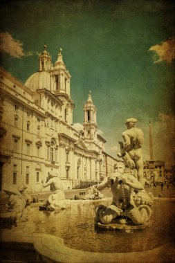 Vintage style picture of the Piazza Navona with fountain and old sculptures in Rome, Italy stock vector