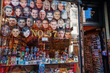 Souvenir shop with celebrity masks in Amsterdam, Netherlands