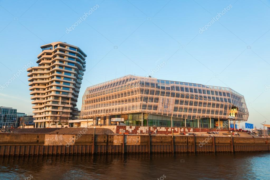 Marco Polo Tower and Unilever Building at dusk in Hamburg, Germany ...