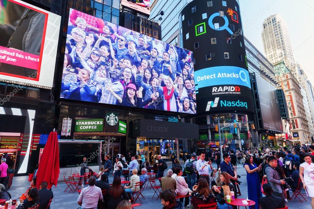 Big Screen At Times Square, Manhattan, New York City