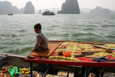Trader in traditional boat