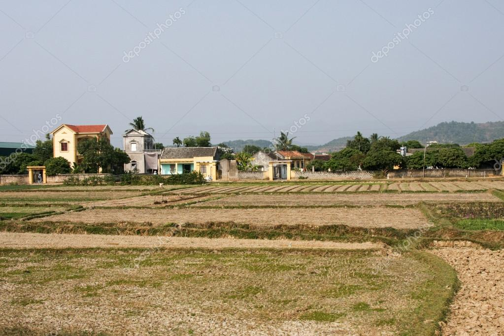Traditional farm land and homes in Vietnam.