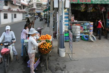 Street vendors selling fruits