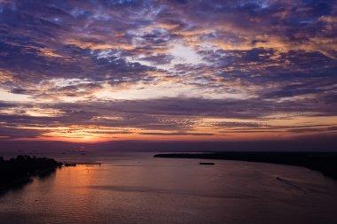 Sunset in Muar town in Malaysia