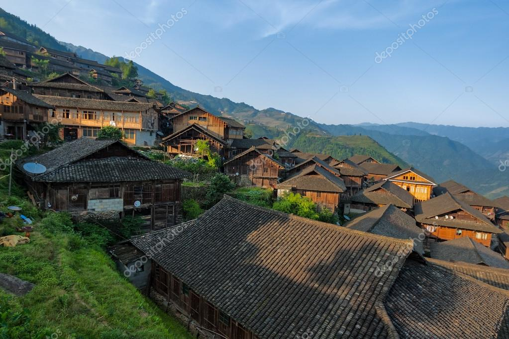 wooden houses in rural China