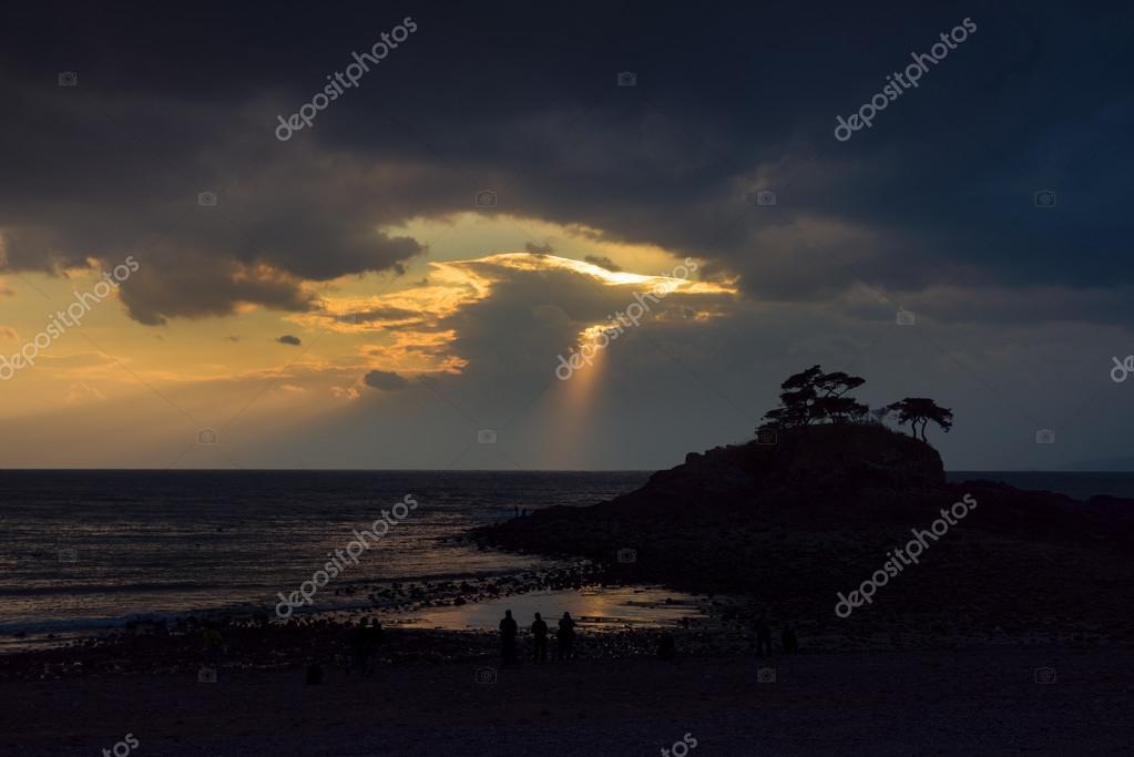 sunbeam streaks on sea