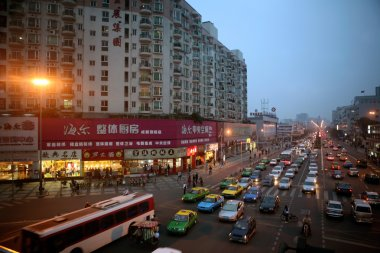Cars and buses in Sichuan, China