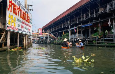 Market on the water canals of Bangkok, Thailand.