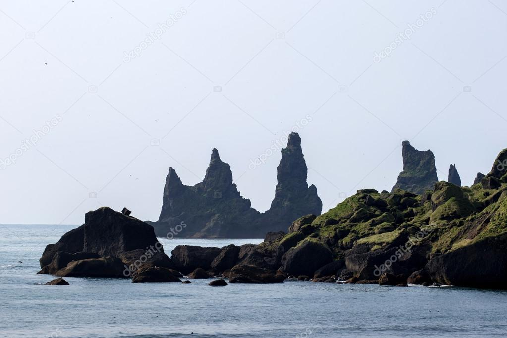 Iceland nature. rocks and ocean