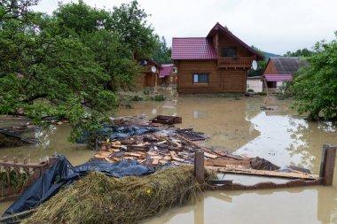 06.23.2020  Yaremche  village, Carpathian region, Ukraine. Flooding  in village caused by heavy rains. Flooding of houses.  Nature disaste