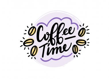 Coffee time logo calligraphic text. Handwritten lettering illustration. Brush calligraphy style. Black inscription isolated on background. Vector illustration icon
