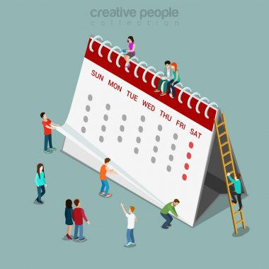 Calendar schedule isometric concept