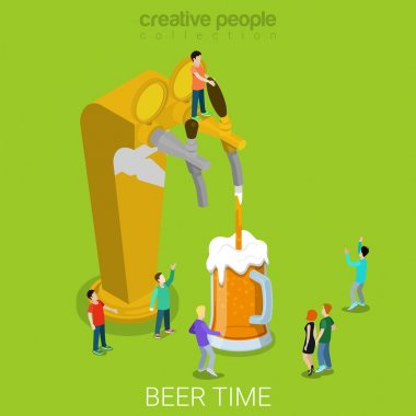 Beer pour machine flat 3d isometry isometric concept web vector illustration. Micro people pouring beer into glass. Creative people collection. stock vector