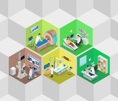 Hospital interior isometric concept