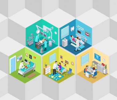 Hospital clinic interior isometric concept
