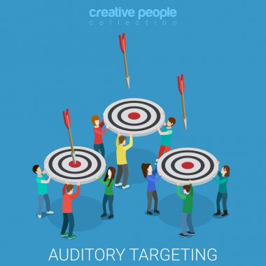 Auditory targeting flat 3d isometry isometric marketing business concept web vector illustration. Groups of young people catching arrows with targets to the bull's eye. Creative people collection. clip art vector