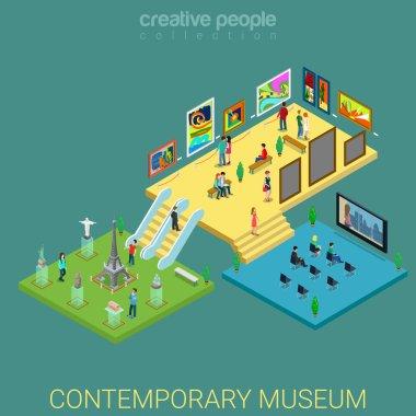 Contemporary art meseum isometric concept