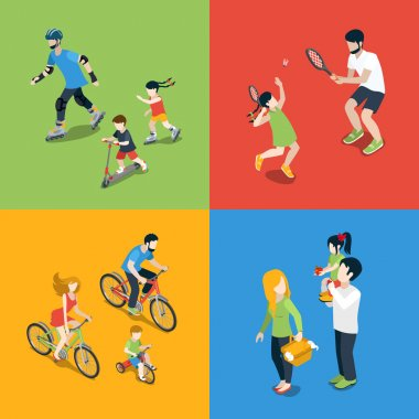 Flat 3d isometric family outdoor sports