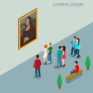Mona Lisa Joconda in Louvre isometric concept