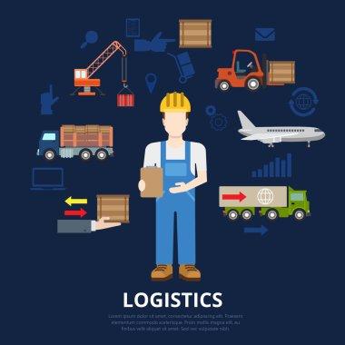 Logistics business flat concept.