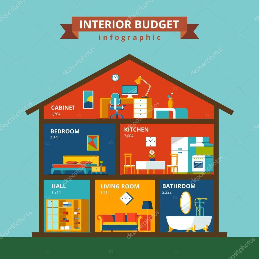 plantilla de concepto de infografía casa — Archivo Imágenes ...