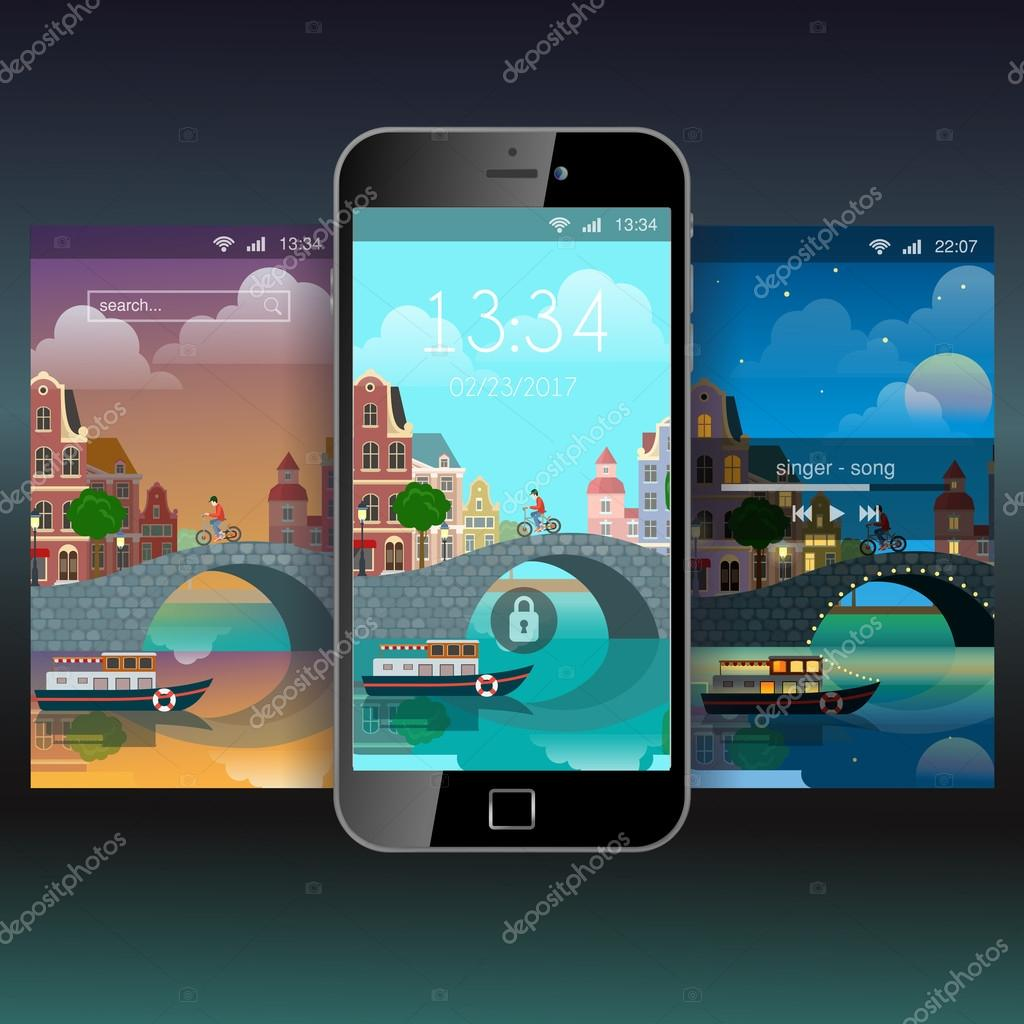 Mobile wallpaper flat style stock vector sentavio 110924536 mobile wallpaper modern venezia italy or amsterdam netherlands flat style app application lockscreen lock screen incoming call music playback background voltagebd Images