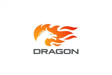 Dragon Fire Flame Logo design vector template Negative space style