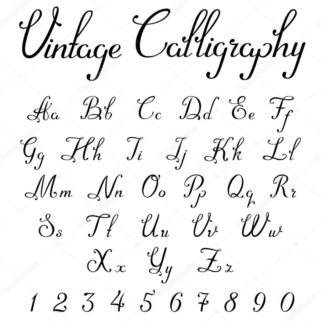 vintage kalligraphische schrift schriftart linear vektor. Black Bedroom Furniture Sets. Home Design Ideas
