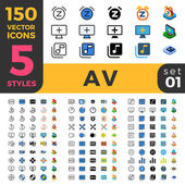 Fotografie 150 Av Audio Video big ui Icon Set.
