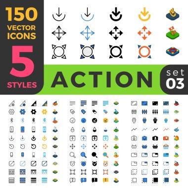 150 Action Settings ui icon set.